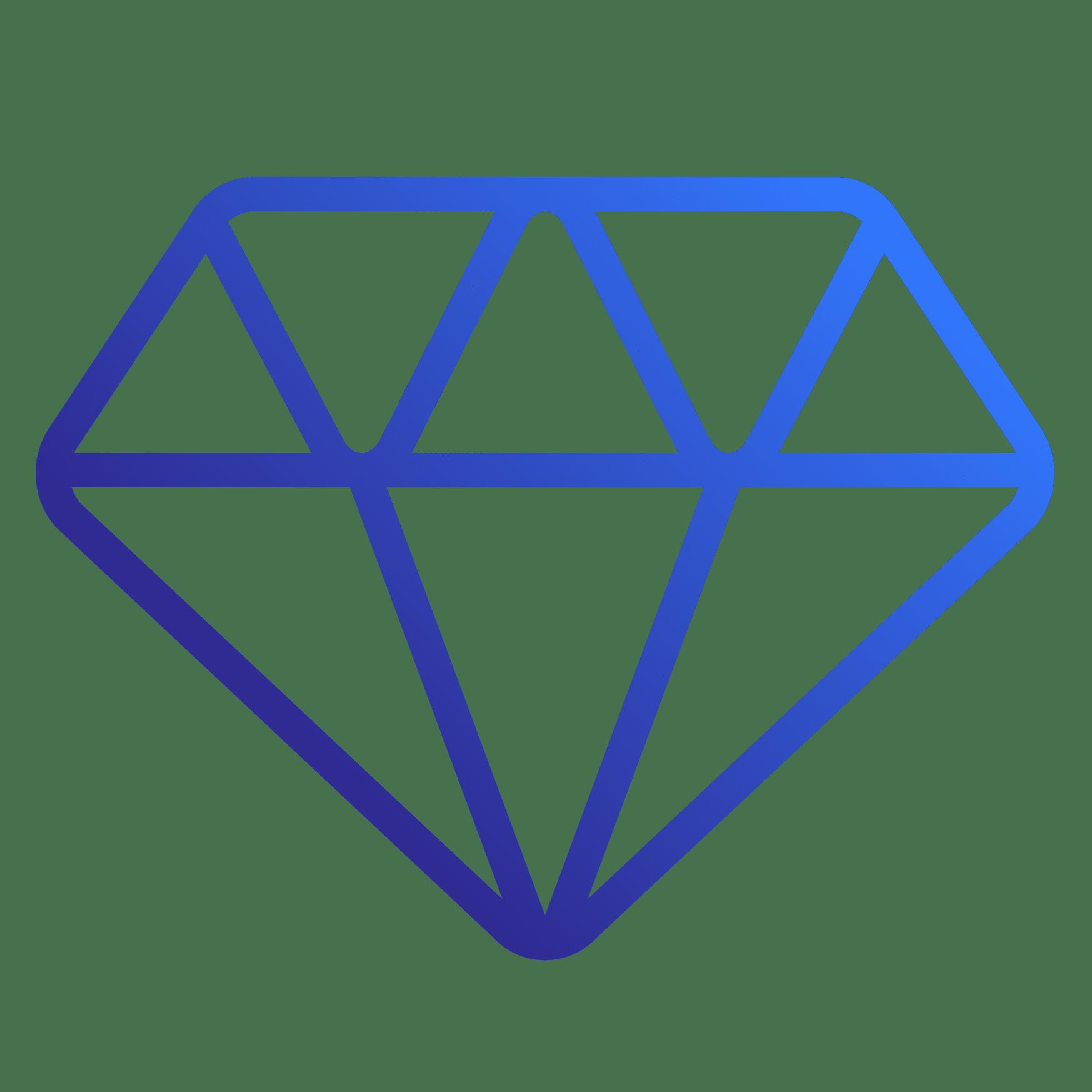 Excellence icon of a diamond,