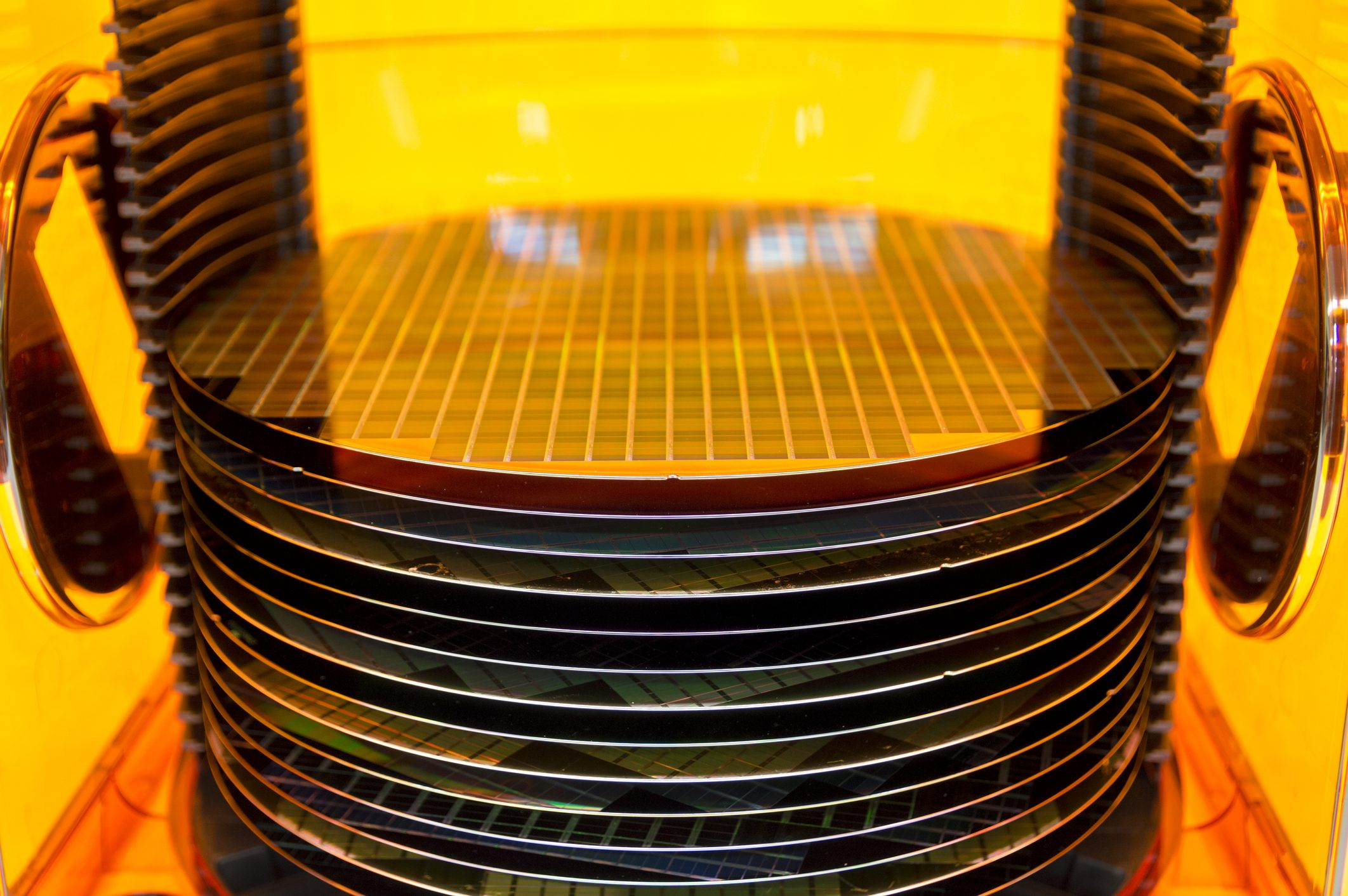 Photo of 12 inch silicon wafers.