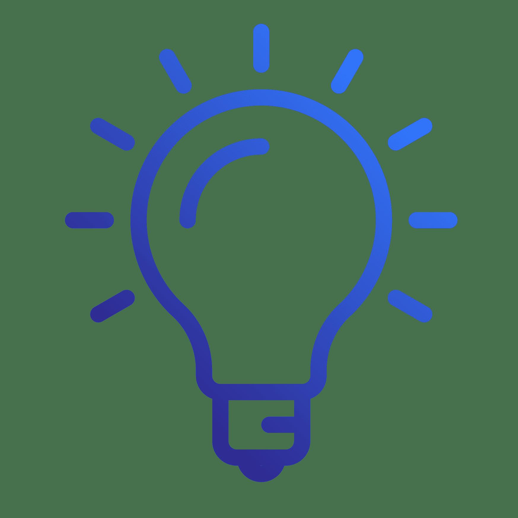 Innovation icon of a shining light bulb.