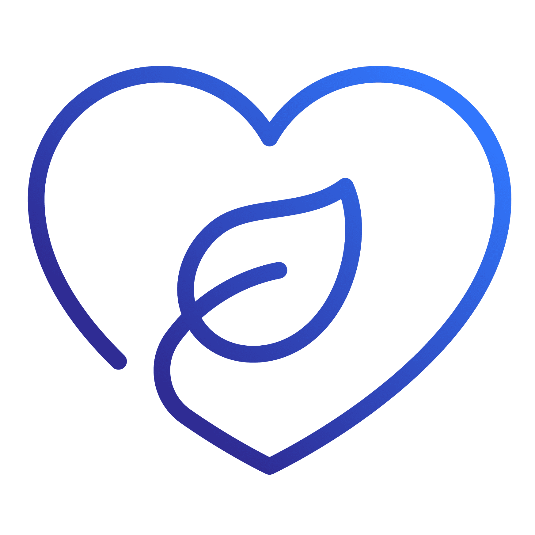Sustainability icon of a heart with a leaf inside of it.
